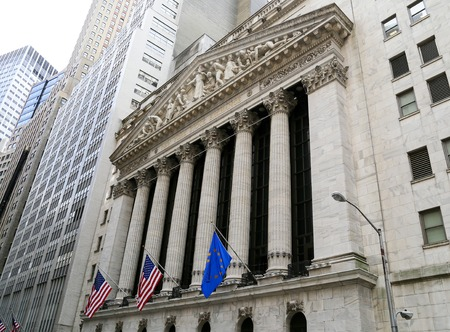 stock: Facade of the New York Stock Exchange on Wall Street