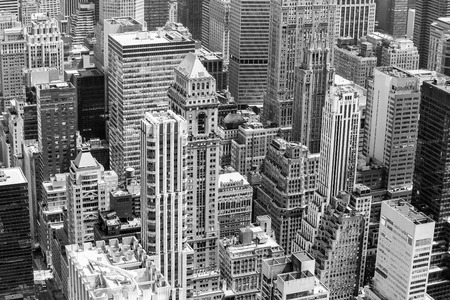 visions of america: Part of New York from above in black and white