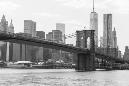 new york silhouette: The Brooklyn Bridge in black and white