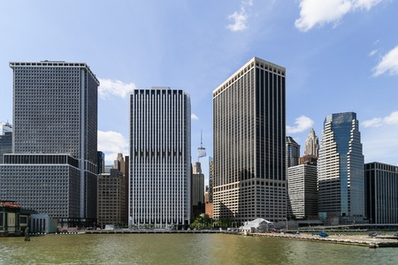 heliport: Office Buildings in Manhattan with Heliport in front