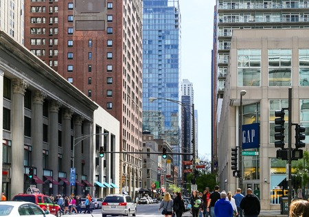 magnificent mile: Busy Street in Chicago Editorial