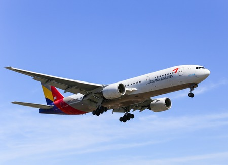 Airplane of Asiana Airlines Boeing 777-200 in Los Angeles