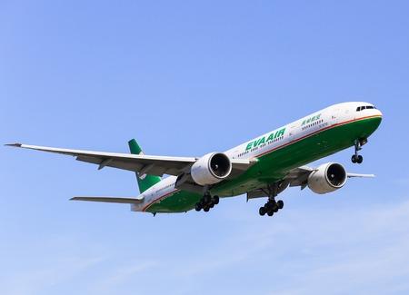 Airplane of Eva Air Boeing 777-300ER in Los Angeles