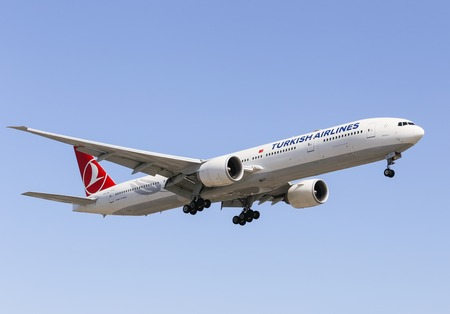 lax: Airplane of Turkish Airlines Boeing 777-300ER in Los Angeles Editorial