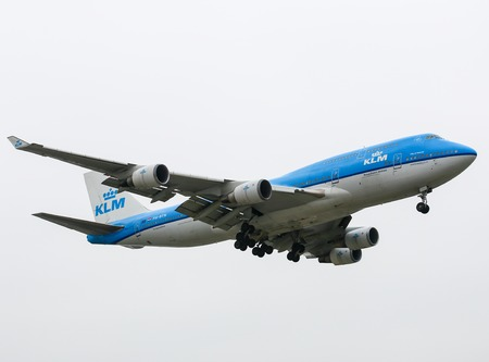 747 400: Aeroplano del KLM Boeing 747-400 a Los Angeles Editoriali