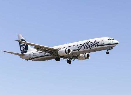 Airplane of Alaska Airlines in Los Angeles
