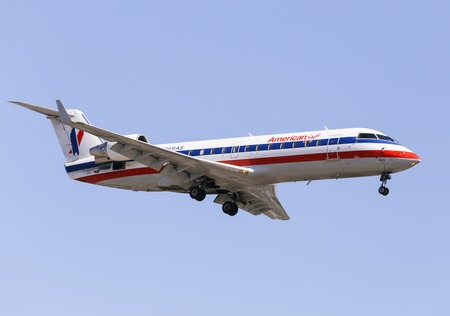 american airlines: Airplane of American Airlines American Eagle in Los Angeles