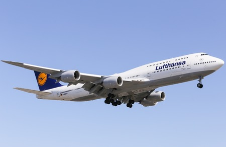 airborne vehicle: Airplane of Lufthansa Boeing 747-8 in Los Angeles