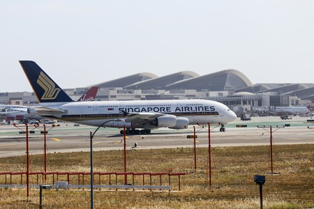 off ramp: Airplane of Singapore Airlines A380 in Los Angeles