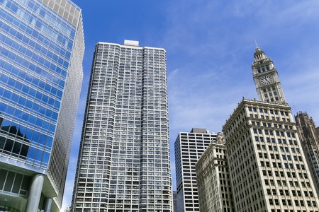 Facades of skyscrapers in Downtown Chicago