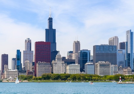 the sears tower: Skyline and Shoreline of Chicago Editorial