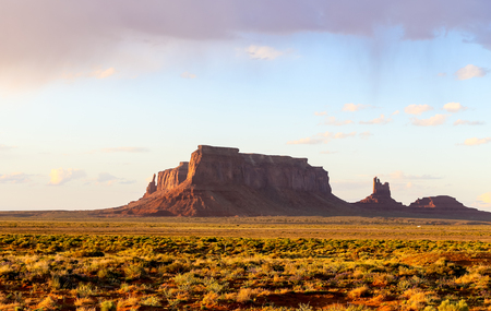 The rock formation Eagle Mesa in Monument Valley in evening light.