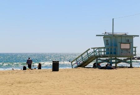 baywatch: A blue lifeguard station in Venice Beach, USA.