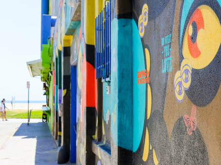 backroad: A colorful mural painting on the wall of a house in Venice Beach, USA. Editorial