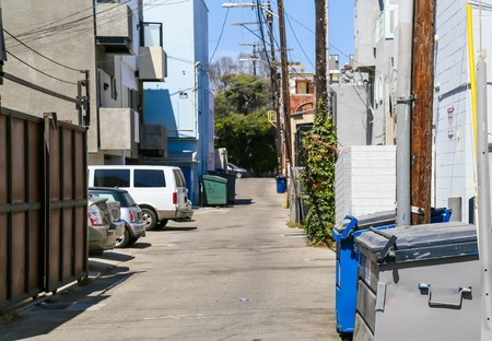 residential street: A residential street with trash cans on the roadside in Venice Beach, USA. Editorial