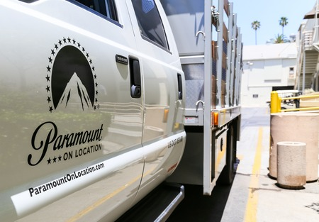 Truck and Trailer of Paramount inside the Paramount Pictures studio lot in Los Angeles. Editorial
