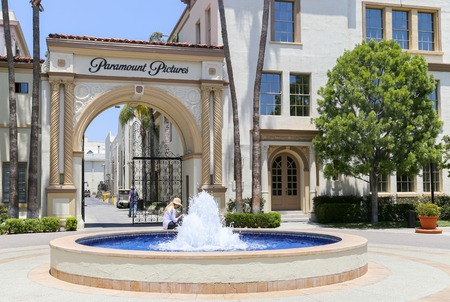 Entrance gate of Paramount Pictures studio lot in Los Angeles.
