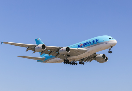 lax: An Airbus A380 jet airliner of Korean Air approaching Los Angeles LAX.