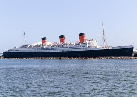 Retired Ocean Liner RMS Queen Mary in Long Beach Harbor.