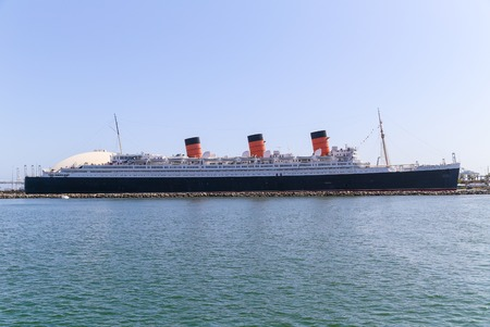 The retired Ocean Liner RMS Queen Mary in Long Beach Harbor. Editorial