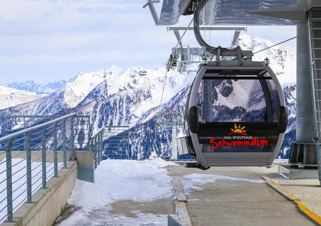 station ski: Car at the top station of Schwemmalm gondola lift in the Schwemmalm ski area in South Tyrol. Editorial