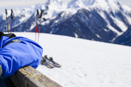 ski lodge: Taking a rest with mountain panorama at the ski lodge in South Tyrol Stock Photo
