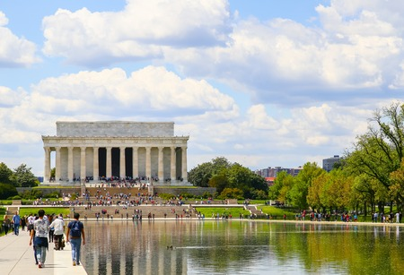 abraham: Visitors heading to the Lincoln Memorial  in Washington DC - in front the Reflecting Pool.