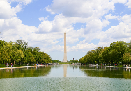 reflecting: The Washington Monument seen from the Lincoln Memorial with the Reflecting Pool in front. Editorial