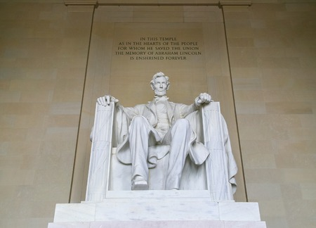lincoln memorial: The statue of Abraham Lincoln inside the Lincoln Memorial in Washington DC.