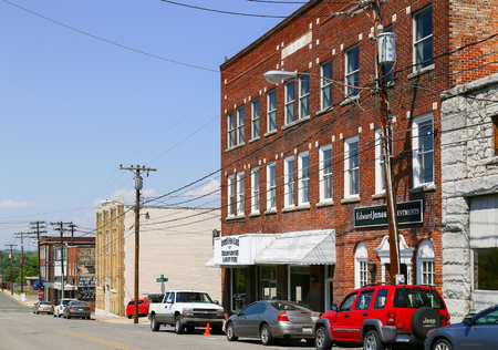 bluegrass: Mount Airy, NC, USA - May 5, 2015: Brick buildings in different colors in downtown Mount Airy.