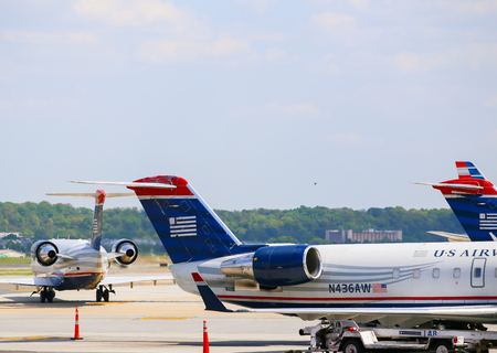 airways: Aircrafts of US Airways standing in the movement area of Ronald Reagan National Airport in Washington DC. Editorial