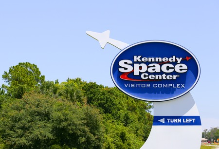 cape canaveral: Signpost to the Kennedy Space Center Visitor Complex near Cape Canaveral. Editorial
