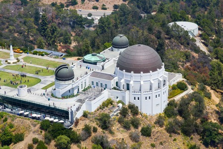 griffith: Los Angeles, USA - May 27, 2015: Aerial view of the Griffith Observatory on Mount Hollywood in Griffith Park