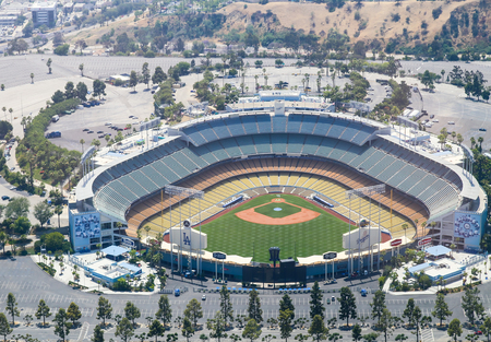 dodgers: Los Angeles, USA - May 27, 2015: Aerial view of the Dodger Stadium in Elysian Park. The stadium and the stands and the parking lots around it are empty.