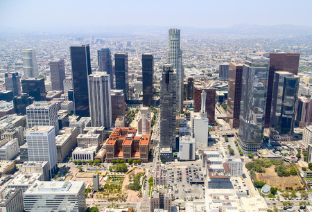 aon: Los Angeles, USA - May 27, 2015: Aerial view of the skyline of Downtown Los Angeles.