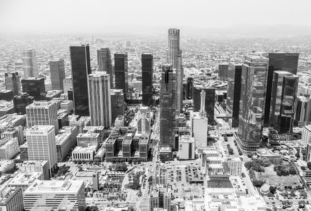 aon: Los Angeles, USA - May 27, 2015: Aerial view of the skyline of Downtown Los Angeles in black and white. Editorial