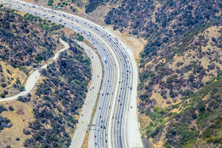 bel air: Los Angeles, USA - May 27, 2015: Aerial view of a part of the Interstate 405 near Bel Air.