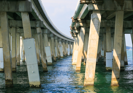 Two bridges of the Overseas Highway in the Florida Keys seen from below.