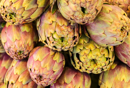 cardunculus scolymus: Heap of big purple Artichokes at a market stall. Stock Photo