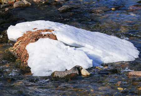 The Falschauer Creek in the Ulten Valley in South Tyrol with remains of snow and bubbling water.