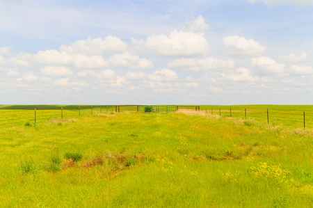 Paddock without animals in the green pastures of the Flint Hills region in Kansas.