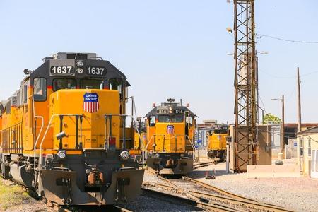Kansas City, USA - May 21, 2016: Switching of engines and trains at a railroad yard in Kansas City. Editorial