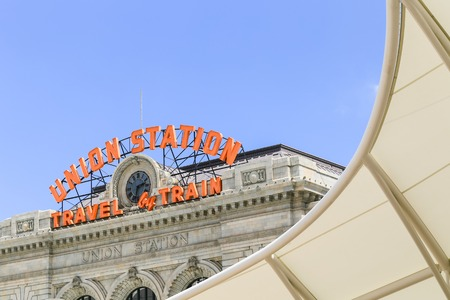 Denver, USA - May 25, 2016: Part of the facade of the historic Denver Union Station terminal building with part of the canopy of the open air train hall in front. Editorial