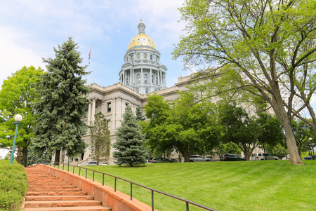 Denver, USA - May 25, 2016: View of the Colorado State Capitol including the gold dome from a stairway below. Editorial