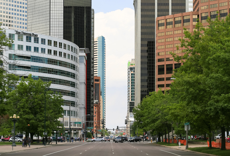 colfax: Denver, USA - May 25, 2016: Part of Capitol Hill in downtown including Broadway and Colfax Avenue with several office buildings.