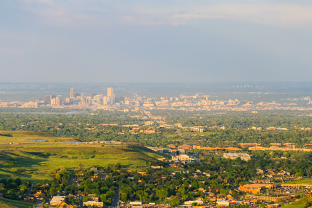 denver buildings: Panoramic view of Denver and the skyline of the city from a viewpoint near Golden.