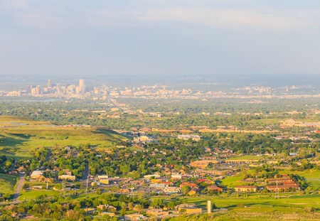 Panoramic view of Denver and the skyline of the city from a viewpoint near Golden.