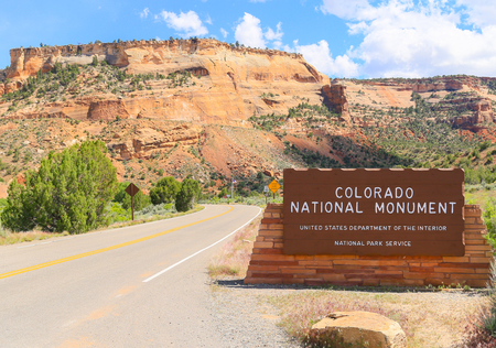 Grand Junction, USA - May 28, 2016: Entrance sign marking that one is entering the Colorado National Monument. Editorial