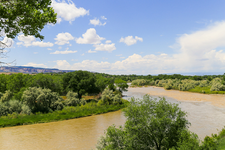 Confluence of Colorado River and Gunnison River in the city of Grand Junction in Colorado with the Book Cliffs in the back.