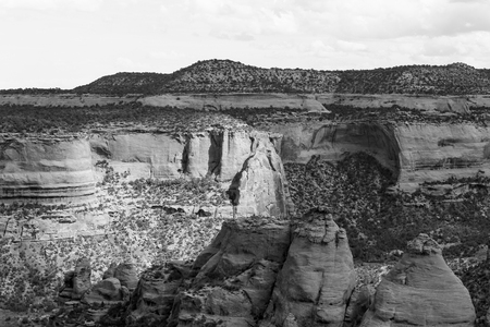 The rock formation called the Coke Ovens in the Colorado National Monument. The picture is in monochrome.